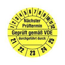 Prüfplakette - Nächster Prüftermin - Geprüft gemäß VDE - durchgeführt durch: