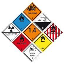Gefahrzettel (Gefahrgutaufkleber) - Verschied. Klassen / Symbole - 25 x 25 cm