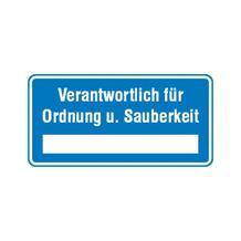 Hinweisschild - Betriebskennzeichnung - Verantwortlich für Ordnung u. Sauberkeit