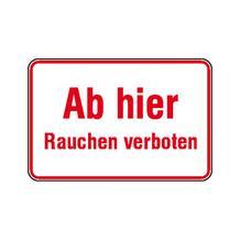Hinweisschild - Betriebskennzeichnung - Ab hier Rauchen verboten