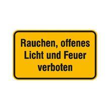 Hinweisschild - Betriebskennzeichnung - Rauchen, offenes Licht und Feuer verboten