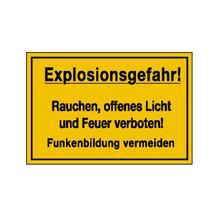 Hinweisschild - Betriebskennzeichnung - Explosionsgefahr! Rauchen, offenes Licht und Feuer ...