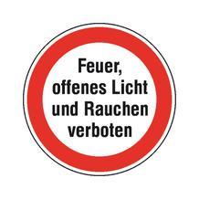 Hinweisschild - Betriebskennzeichnung - Feuer, offenes Licht und Rauchen verboten