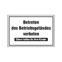 Hinweisschild - Betriebskennzeichnung - Betreten des Betriebsgeländes verboten ...