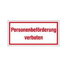 Hinweisschild - Betriebskennzeichnung - Personenbeförderung verboten