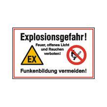 Hinweisschild - Betriebskennzeichnung - Explosionsgefahr! Feuer, offenes Licht und Rauchen ...