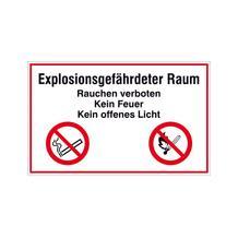 Hinweisschild - Betriebskennzeichnung - Explosionsgefährdeter Raum Rauchen verboten ...