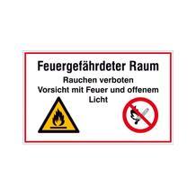 Hinweisschild - Betriebskennzeichnung - Feuergefährdeter Raum Rauchen verboten ...