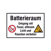 Hinweisschild - Betriebskennzeichnung - Batterieraum Umgang mit Feuer, offenem Licht ...
