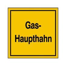 Hinweisschild für Gasanlagen - Gas-Haupthahn / Richtungspfeil