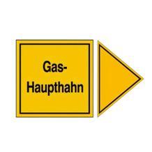 Hinweisschild für Gasanlagen - Gas-Haupthahn mit Richtungspfeil