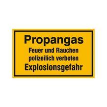 Hinweisschild - Betriebskennzeichnung - Propangas Feuer und Rauchen polizeilich verboten ...