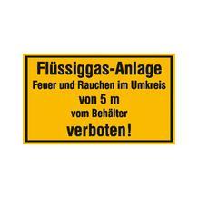 Hinweisschild - Betriebskennzeichnung - Flüssiggas-Anlage Feuer und Rauchen im Umkreis ...