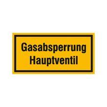 Hinweisschild - Betriebskennzeichnung - Gasabsperrung Hauptventil