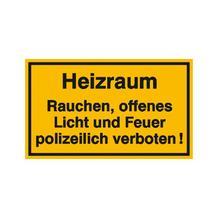 Hinweisschild - Betriebskennzeichnung - Heizraum Rauchen, offenes Licht und Feuer ...