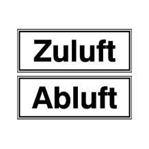 Hinweisschild - Betriebskennzeichnung - Zuluft / Abluft
