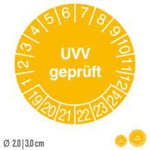 Prüfplakette UVV geprüft - auf Bogen