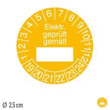 Prüfplakette Elektr. geprüft gemäß - auf Bogen