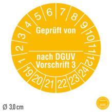 Prüfplakette Geprüft von ... nach DGUV Vorschrift 3 - auf Bogen