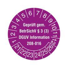 Prüfplakette - Geprüft gem. BetrSichV §3 (3) - DGUV Information 208-016