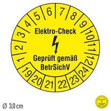 Prüfplakette Elektro-Check Geprüft gemäß BetrSichV - auf Bogen