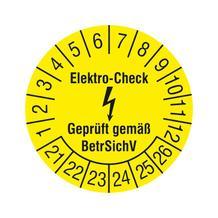 Prüfplakette - Elektro-Check - Geprüft gemäß BetrSichV