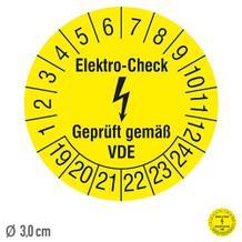 Prüfplakette Elektro-Check Geprüft gemäß VDE - auf Bogen