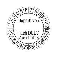 Prüfplakette - Geprüft von ... nach DGUV Vorschrift 3 - auf Bogen