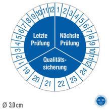 Prüfplakette Letzte Prüfung / Nächste Prüfung - auf Bogen