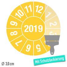 Prüfplakette Jahresplakette, 2-stellige Jahreszahl, Schutzlack - auf Bogen
