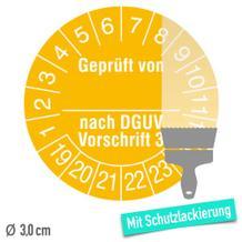 Prüfplakette Jahresplakette, Geprüft nach DGUV, Schutzlack - auf Bogen