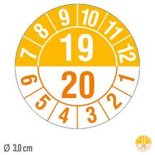 Prüfplakette Halbjahresplakette mit 2-stelliger Jahreszahl, jahresübergreifend - auf Bogen