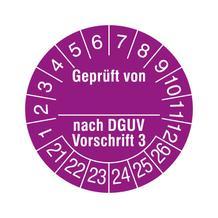 Prüfplakette - Geprüft von ... nach DGUV Vorschrift 3