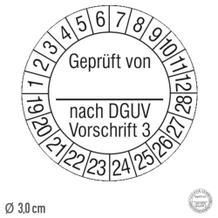 Prüfplakette Geprüft von ... nach DGUV Vorschrift 3 - auf Rolle