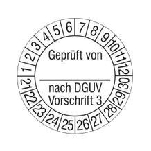 Prüfplakette - Geprüft von ... nach DGUV Vorschrift 3 - auf Rolle
