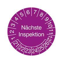 Prüfplakette in Jahresfarbe - Nächste Inspektion