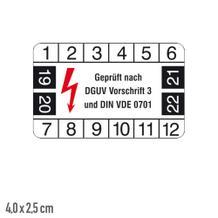Prüfplakette Geprüft nach DGUV Vorschrift 3 und DIN VDE 0701 - Bogen