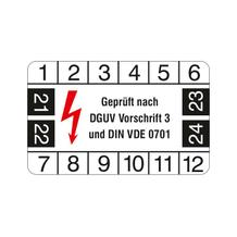 Prüfplakette - Geprüft nach DGUV Vorschrift 3 und DIN VDE 0701