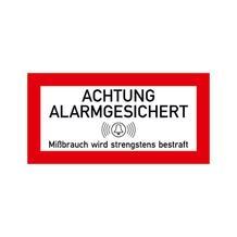 Hinweisschild für Schutzschränke - Text: Achtung Alarmgesichert