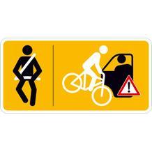 Hinweisschild für Taxen und beförderungspflichtige Fahrzeuge - Bitte anschnallen und Vorsicht ...