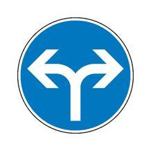 Verkehrszeichen - StVO - Vorgeschriebene Fahrtrichtung links und rechts - 2 Größen