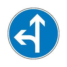 Verkehrszeichen - StVO - Vorgeschriebene Fahrtrichtung geradeaus und links - 2 Größen