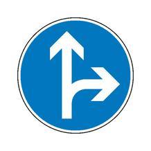 Verkehrszeichen - StVO - Vorgeschriebene Fahrtrichtung geradeaus und rechts - 2 Größen
