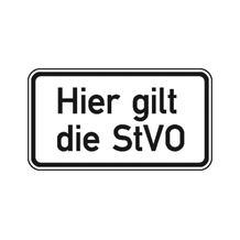 Zusatzzeichen - Hier gilt die StVO - 2 Größen