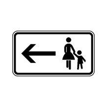 Zusatzzeichen - StVO - Fußgänger Gehweg gegenüber ... - linksweisend - 2 Größen