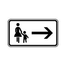 Zusatzzeichen - StVO - Fußgänger Gehweg gegenüber ... - rechtsweisend - 2 Größen