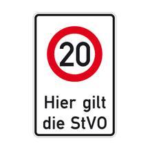 Verkehrsschild  - Betriebskennzeichnung - Hier gilt die StVO - Zulässige Höchstgeschw. ... 20 km/h