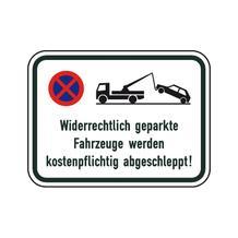 Verkehrsschild - Betriebskennzeichnung - Widerrechtlich geparkte Fahrzeuge werden ... - 2 Größen
