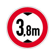 Verkehrsschild - Betriebskennzeichnung - Verbot für Fahrzeuge über bestimmte Höhe - individuelle Angabe