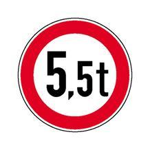 Verkehrsschild - Betriebskennzeichnung - Verbot für Fahrzeuge über bestimmtem Gewicht - individuelle Angabe